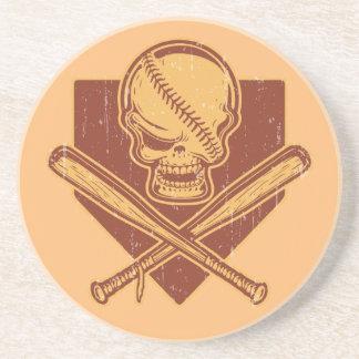 Baseball Skull & Cross Bats Sandstone Coaster