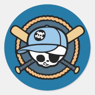 Baseball Skull & Crossbats -boys Classic Round Sticker