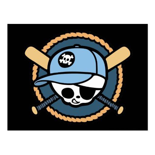 Baseball Skull & Crossbats -boys Postcard