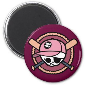 Baseball Skull & Crossbats -girls Magnet