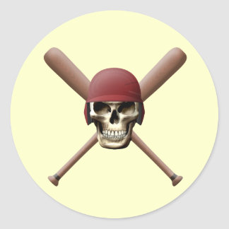 Baseball Skull & Crossed Bats Classic Round Sticker