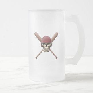 Baseball Skull & Crossed Bats Frosted Glass Beer Mug