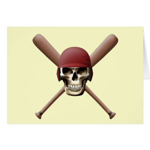 Baseball Skull & Crossed Bats Greeting Card