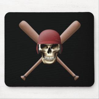 Baseball Skull & Crossed Bats Mouse Pad