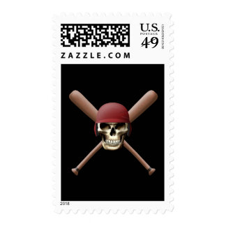 Baseball Skull & Crossed Bats Postage