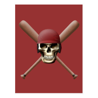 Baseball Skull & Crossed Bats Postcard