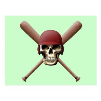 Baseball Skull & Crossed Bats Postcard