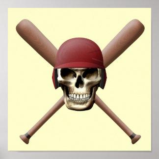 Baseball Skull & Crossed Bats Print