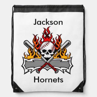 Baseball Skull Flames Personalized Backpack