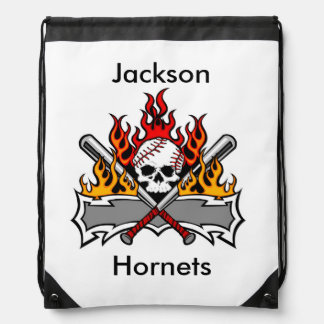 Baseball Skull Flames Personalized Backpack