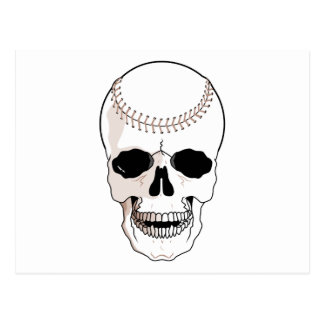 baseball skull head postcard