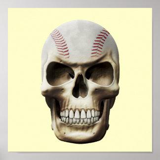 Baseball Skull Poster