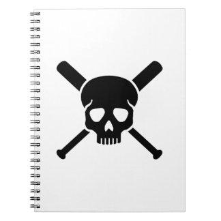 Baseball skull spiral notebook