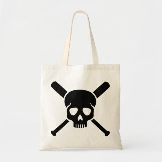 Baseball skull tote bag