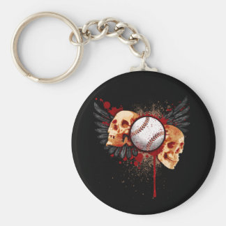 Baseball Skulls with Wings Keychain