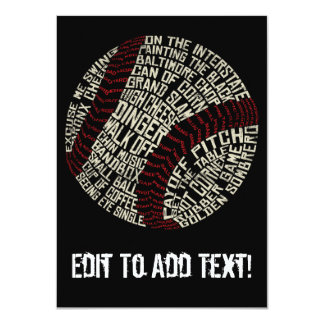 Baseball Slang Words Calligram 4.5x6.25 Paper Invitation Card