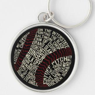 Baseball Slang Words Calligram Keychain