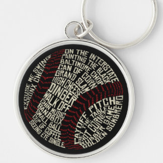 Baseball Slang Words Calligram Silver-Colored Round Keychain