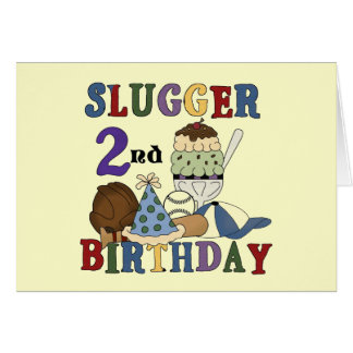 Baseball Slugger 2nd Birthday tshirts and Gifts Card