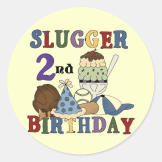 Baseball Slugger 2nd Birthday tshirts and Gifts Classic Round Sticker