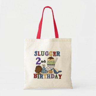 Baseball Slugger 2nd Birthday tshirts and Gifts Tote Bag