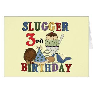 Baseball Slugger 3rd Birthday Tshirts Greeting Card