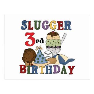 Baseball Slugger 3rd Birthday Tshirts Postcard