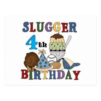 Baseball Slugger 4th Birthday Postcard