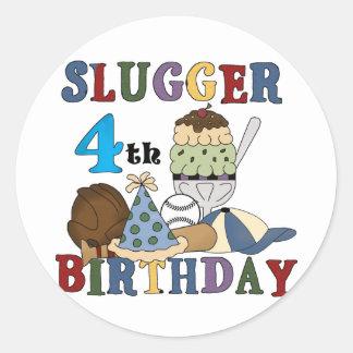 Baseball Slugger 4th Birthday Classic Round Sticker