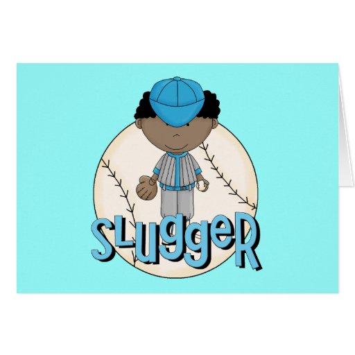 Baseball Slugger African  American Boy Tshirts Cards