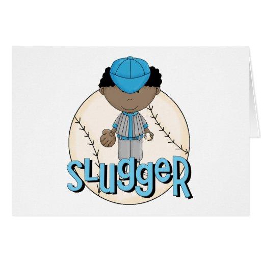 Baseball Slugger African  American Boy Tshirts Greeting Cards