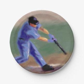 Baseball Slugger Art 7 Inch Paper Plate