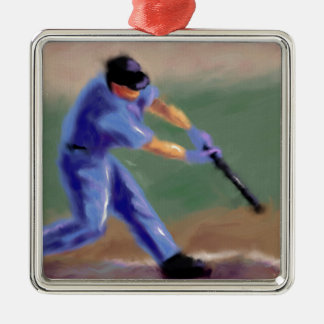 Baseball Slugger Art Metal Ornament