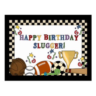 Baseball Slugger Birthday Cards Postcard