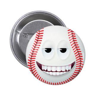 Baseball Smiley Face 2 Pinback Button