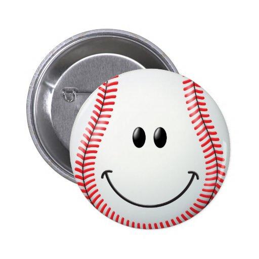 Baseball Smiley Face Pinback Buttons