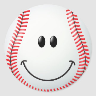 Baseball Smiley Face Classic Round Sticker