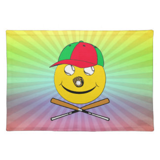BASEBALL SMILEY FACE JOLLY ROGER PLACEMAT