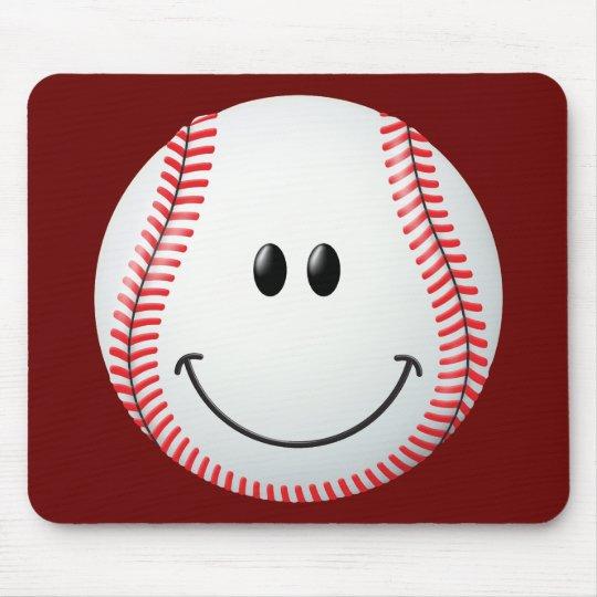 Baseball Smiley Face Mouse Pad