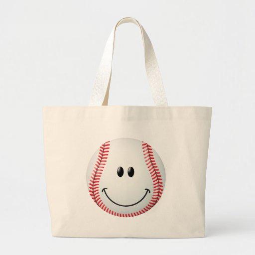Baseball Smiley Face Tote Bag