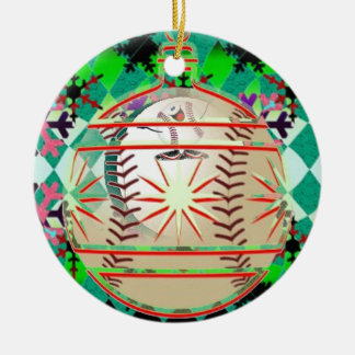 Baseball snowball ornament
