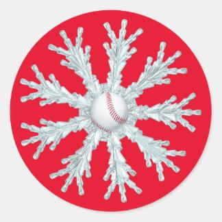 Baseball snowflake classic round sticker