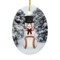 Baseball Snowman Ceramic Ornament