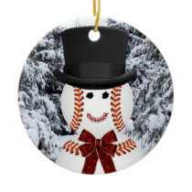 Baseball Snowman Ceramic Ornament