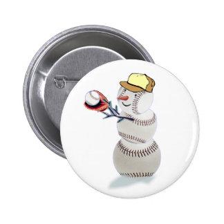 Baseball Snowman Christmas Pinback Button