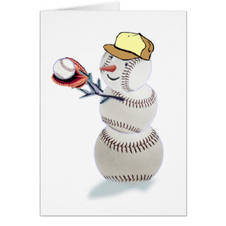 Baseball Snowman Christmas Card
