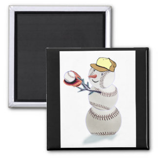 Baseball Snowman Christmas 2 Inch Square Magnet