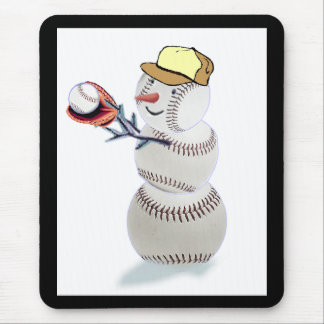 Baseball Snowman Christmas Mouse Pad
