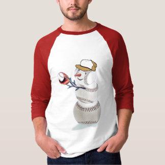 Baseball Snowman Christmas T-Shirt