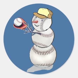 Baseball Snowman Classic Round Sticker